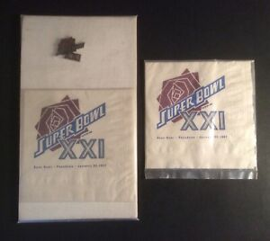 Super Bowl XXI VTG 1987 Paper Napkins (2) & Collector Pin