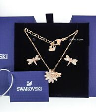 New Authentic SWAROVSKI  Rose Gold Flower Dragonfly Set Earring Necklace 5518141