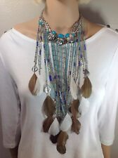 Chico's Multi Color Blues Fringe / Feather Beaded Necklace