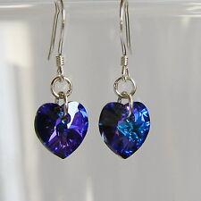 STERLING SILVER 925 Purple CRYSTAL Heart EARRINGS Heliotrope SWAROVSKI Elements
