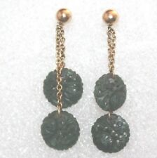 "Chinese 14k Yellow Gold Carved Jade .50"" Diameter Stud Earrings for Pierced Ears"