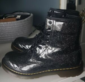*DR MARTENS SIZE 5 PATENT BLACK GLITTER AIR WAIR BOOTS*LOOK*RRP £149.99*