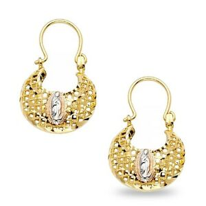 Lady Guadalupe Basket Earrings Solid 14k Yellow White Rose Gold Diamond Cut Hook