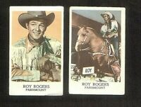 Two Roy Rogers trading cards from the 1956 Maple Leaf Gum Co. in VG/EX condition