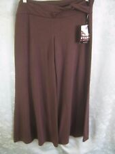 Tracy Evans Dark Brown Stretch Knit Wide Leg Pants Size Large NWT