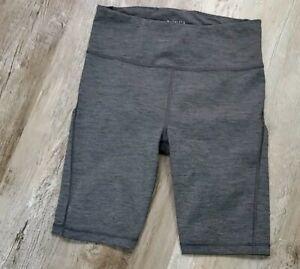 "ATHLETA Ultimate Stash Pocket 9"" Short Size S Grey Heather Compression Workout"