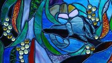 SUGAR GLIDER & AUSTRALIAN NATIVE FLORA SCENE Stained Glass Leadlight Art Window