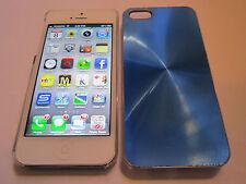Blue iPhone SE 5S 5G 5 SPIRAL Aluminum Metal Back Designer Case & Clear Sides