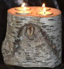 White Birch Log Candle/Tea Light Holder large 4 tea lights, center piece,rustic