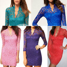 Women Lace Sexy Slim Dress Scalloped V-Neck 3/4 Sleeve Dress  SALES PROMOTION GZ