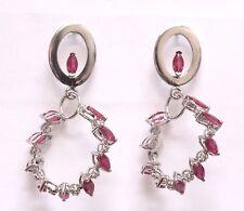 18k white gold .18ct diamond ruby hoop dangle earrings 10.1g estate vintage