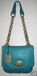 Fossil Cori Mini Flap Shoulder Bag Aqua Blue SHB6320999 NWT