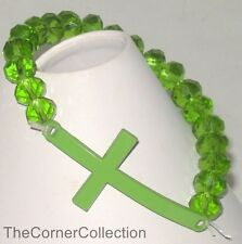 GREEN SIDEWAYS CROSS STRETCH BRACELET with GREEN CRYSTAL FACETED BEADS
