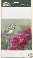 Fiddlers Elbow Cotton Kitchen Lint Free Towel Meadow Lark Bird Pink Flowers New
