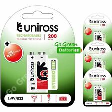 4 x Uniross Hybrio 9V 200 mAh NiMH Rechargeable Battery, Stay Charged 9 Volt PP3