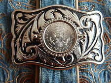 NUOVO USA MADE Argento Nero Metallo Cintura Fibbia AMERICANA mezzo dollaro Cowboy Western