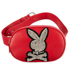 PHILIPP PLEIN X PLAYBOY Crystals Leather Bunny Belt Bag Pouch Red Logo 08675