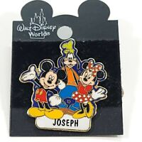 Vintage Walt Disney World Name Pin | Joseph | Mickey Minnie Mouse Goofy