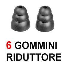 6 GOMMINI RICAMBIO AURICOLARE BLUETOOTH CUFFIE MUSICA RIDUTTORE SUPER ASCOLTO
