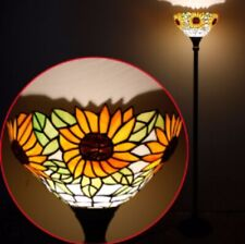 Tiffany Style Floor Lamp Torchiere Art Uplighter Stained Glass Light Handcrafted