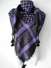 New Purple Black Arab Unisex Shemagh Head Scarf Neck Wrap Authentic Cottton