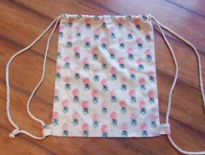 Boho Chic! ~ New! ~ Tropical Pineapple Braid Rope CANVAS Backpack Drawstring Bag