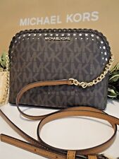 MICHAEL KORS VIOLET CINDY DOME CROSSBODY MESSENGER MK SIGNATURE BAG BROWN $268