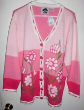 STORYBOOK KNITS Cardigan LARGE Sweater Embellished Floral White Pink Women NEW
