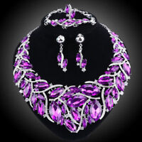 Austrian Crystal Party Jewelry Set Statement Pendant Necklaces Earrings Ring