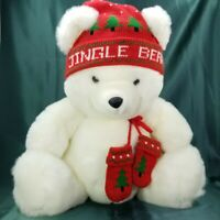 "Vintage CHH Exclusive JINGLE BEAR 17"" Soft Stuffed Plush with Hat Mittens & Bell"