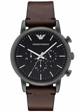 Armani Dress AR1919 Black/Brown Leather Analog Quartz Men's Watch