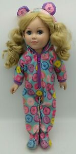 "2013 My Life 18"" Doll Long Blonde Hair Blue Eyes Cute Footed Pajamas w/ Donuts"