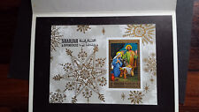 """VERY RARE SHARJAH """"ONLY 01 EXISTS, PRINTER PROOF"""" CHRISTMAS SOUVENIR SHEET ON """"P"""
