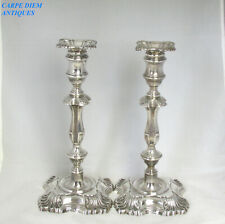 """VICTORIAN LARGE HEAVY PAIR SOLID STERLING SILVER 11.75"""" CANDLESTICKS 2240g 1899"""