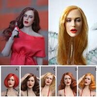 1/6 Female Head Sculpt GC017 Open mouth Beauty Curly brown Hair Head F12'' Body
