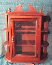 "Vintage Wood Miniature Display Curio Cabinet 3 Shelves Glass Door Wall Table 22"""