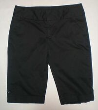 Mix It Womens Stretch Solid Black Mid Rise Cuffed Bermuda Shorts Size 8
