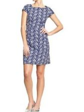 EUC Old Navy Plus Retro Boho Pinup Blue Floral Embroidered Shift Dress 20W