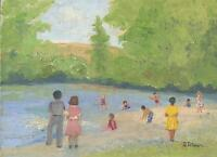 AMERICANA VINTAGE FOLK ART SWIMMING BEACH CHURCH PICNIC BATHING SUITS PAINTING