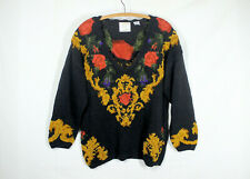 New listing Vtg 90s Express Oversize Tunic Sweater M Intarsia Roses & Gold Chenille Unique