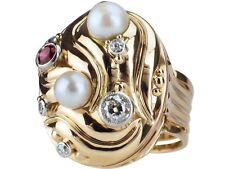 Art Deco 585 Gold 950 Platin 0,35 ct Diamant Rubin Perle Gemüse Damen Ring!