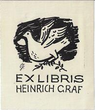 WILLI GEIGER: Exlibris für Heinrich Graf, Taube mit Ölzweig