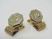 Letter M Initial Wrap Mesh Cufflinks Vintage Men's Jewelry Gold Tone