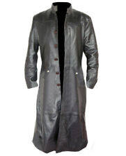 Mens Trench Coat Real BLACK Leather Goth Matrix Steampunk Gothic Van Helsing
