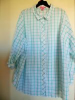 WOMAN WITHIN WHITE PLAID LONG SLEEVE TOP SHIRT TUNIC TOP, SZ 2X,