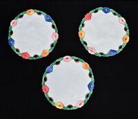 """Vintage Set of 3 White Linen with Multicolor Floral Applique Borders 12"""" Doilies"""