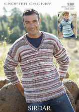 Sirdar Mens Knitting Pattern - 9381 - Sweater and Tank - F087 Crofter Chunky