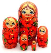 Russian Matryoshka Hand Painted Nesting Babushka set of 5 Doll Traditional