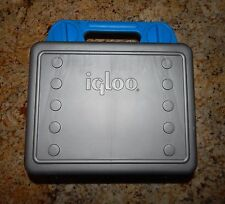 Genuine Vintage Igloo Blue & Gray Lunch Box w/ Sandwich & Snack Compartments