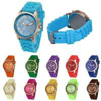 Geneva Men Women Fashion Watches Silicone Sports Analog Quartz Wrist Watches